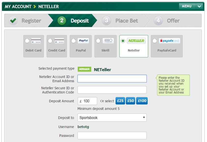 betting sites that accept neteller